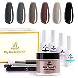 Beetles Dipping Powder Starter Kits 6 Colors Dip Nails Gray Dark Dip Powder Nail Dip Set D...