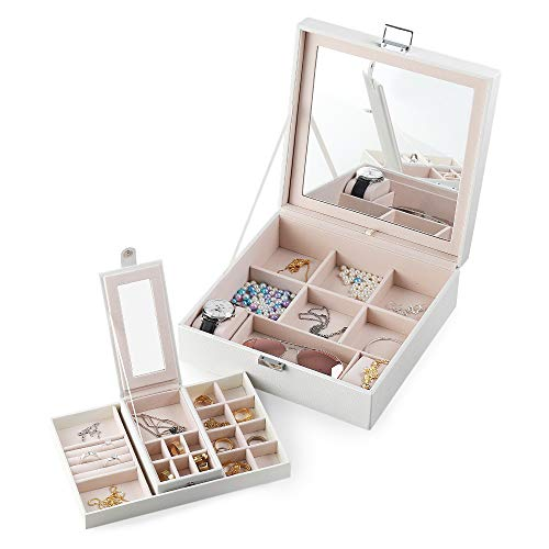 Jewelry Box with Portable Travel Jewelry Case 2 Layer Jewelry Display Organizer with Large Movable Mirror Versatile Storage Case for Jewelry rings Watches Sunglasses (White)