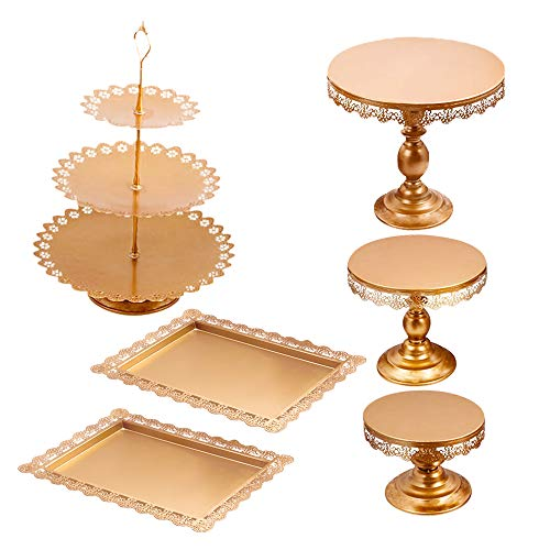 6Pcs Metal Crystal Cake Stand Cake Holder Cupcake Stand Dessert Tower Wedding Party Display Matte Gold
