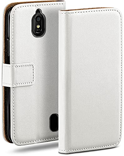 moex Klapphülle für Huawei Y625 Hülle klappbar, Handyhülle mit Kartenfach, 360 Grad Schutzhülle zum klappen, Flip Hülle Book Cover, Vegan Leder Handytasche, Weiß
