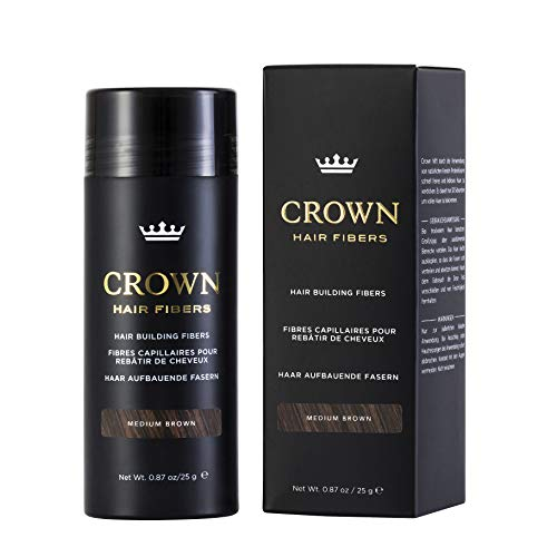 CROWN HAIR FIBERS for Thinning Hair (MEDIUM BROWN) - Instantly Thickens Thinning or Balding Hair for Men & Women - 0.87oz/25g Bottle - Best Natural Keratin Hair Loss Concealer
