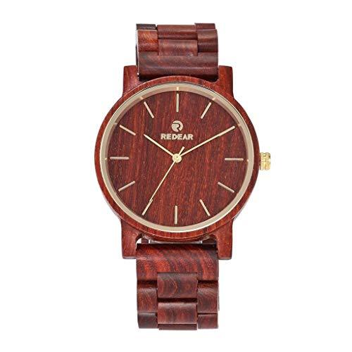 Orologio da uomo Zxy Reloj de Cuarzo de Madera, sándalo Rojo, Natural, Original, Completamente de Madera, Saludable y Respetuoso con el Medio Ambiente, for Parejas DYF (Color : Red Sandalwood)