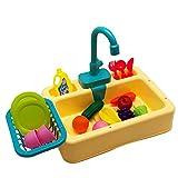 Ruby569y Juguetes de juego de simulación, lavavajillas simulación educativa ABS niños cocina eléctrica lavavajillas juguetes para niños - amarillo