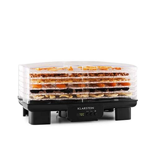 Klarstein Bananarama - Deshidratador BPA Free, Secado de alimentos, Pantalla LCD, 6 bandejas, Ventilación, 550W, Temperatura 40 a 70 °C, Temporizador programable, Diseño modular, Negro