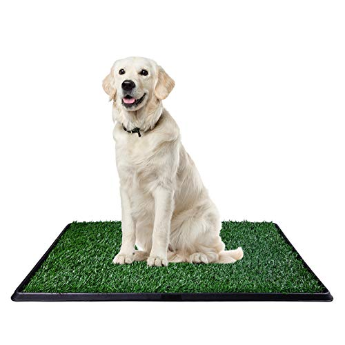 """CHIFONG Portable Dog Potty Indoor/Outdoor/Bathroom. Dog Home Training Toilet Relief System. Grass Surface Dog Mat, Bite Resistant Turf Patch, Large Artificial Grass Turf 30"""" x 20"""""""