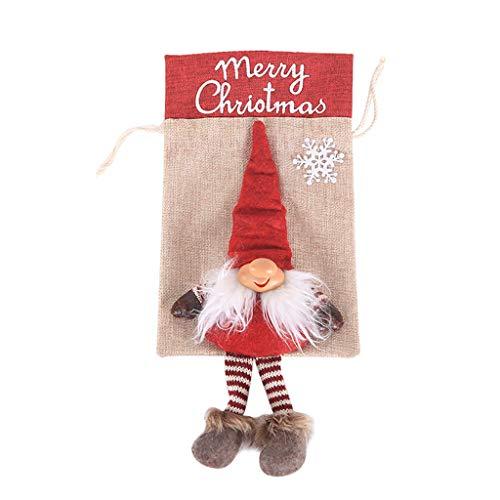 Sannysis Jutesäckchen Rot Weihnachtsdekoration Adventskalender Wichtel Kobold Jute Beutel Stoffbeutel Natur Säckchen Geschenksäckchen - Weihnachten Geschenkidee (36x16.5cm, A)