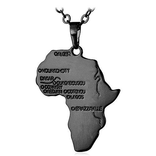 U7 Collier Afrikanische Landkarte Anhänger mit 55cm Rolokette Schwarzes Metall plattiert Karte von Afrika Kette Damen Herren Modeschmuck