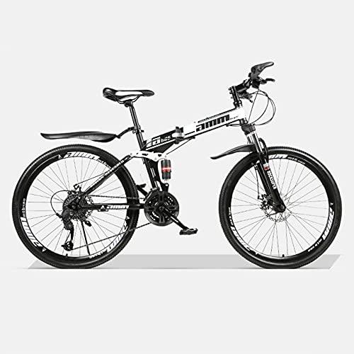 LHQ-HQ Bicicleta De Montaña Plegable para Adultos, Rueda De 26', 21 Velocidades, Doble Suspensión, Freno De Disco Doble, Adecuada para Una Altura De 5.2 A 6 Pies,C