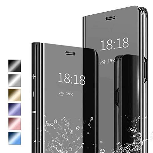 ANWEN Hülle für iPhone 12 Pro Max Handyhüllen,Flip Handy Hülle Cover PU+PC Schutzhülle Transluzent View Spiegel Anti-Schock Hülle mit Standfunktion für iPhone 12 Pro Max-Schwarz