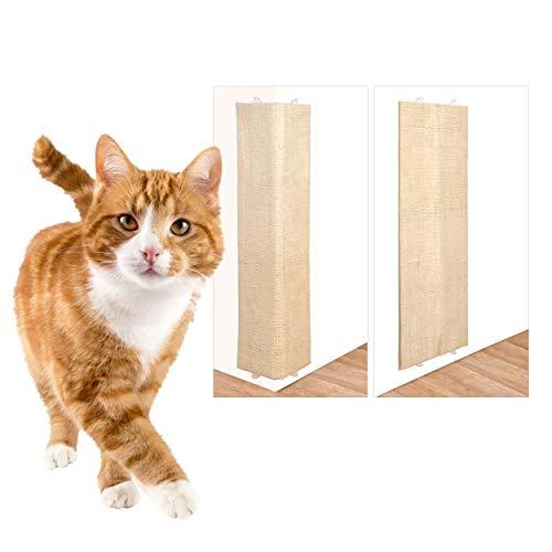 Oramics 2X 2in1 Katzen Kratzbrett für Wand und Ecke zum Aufhängen - Wandkratzbrett Eckkratzbrett eine Seite aus Natursisal, eine aus Plüsch ca. 80x27,5x1cm - Kratzmatte Kratzpad Katzenkratzbrett