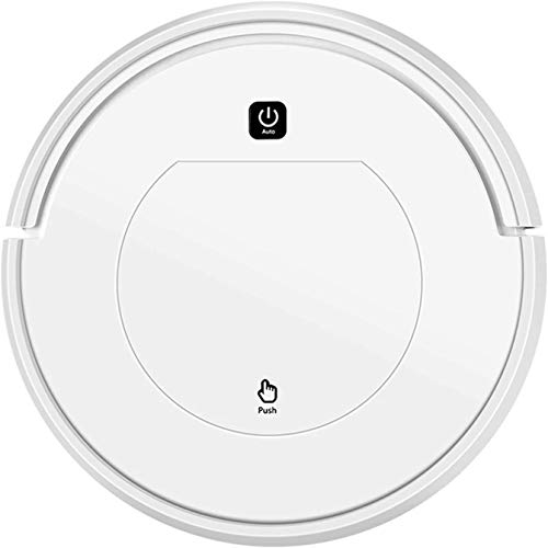 Robotic Vacuum Cleaner with Remote Control, 1000pa High Suction Robot Floor Cleaner with Anti Drop and Collision Sensor 45dB Low Noise for Pet Hair, Hard Floor & Low-pile Carpet,White
