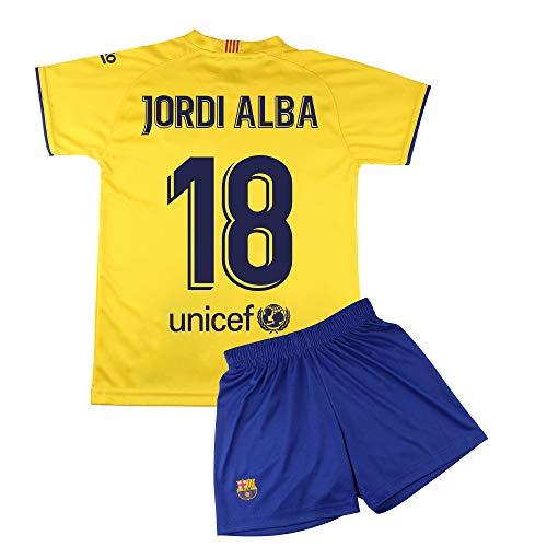Champion's City Set Trikot und Hose für Kinder zur Erstausstattung – FC Barcelona – Replika – Spieler 14 Jahre 18 - Jordi Alba
