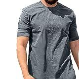 Shirt Hombre Verano Simplicidad Moda Color Sólido Ajuste Regular Hombre Casuales Camisa Moderno Básico Cuello Redondo Hombre Camiseta Diaria Casual Transpirable Manga Corta