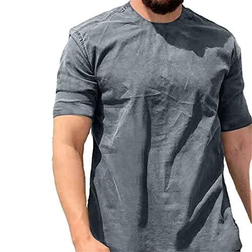 T-Shirt Hombre Verano Básica Cuello Redondo Hombre Shirt Ocio Transpirable Empalme De Tendencia Manga Corta Hombre Shirt Personalidad Cómoda Hombre Shirt Sin Cuello