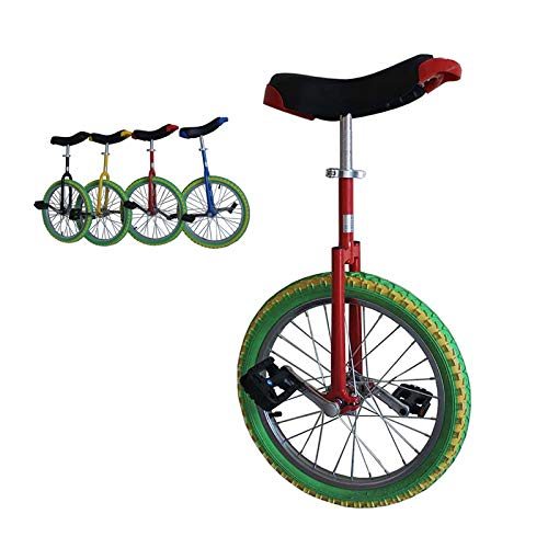 AHAI YU 18/16inch Wheel Colored Unicycle, for Kids/Teenagers/Child(Age 7-15 Years), with Leakproof Butyl Tire, Outdoor Fashion Balance Cycling (Color : RED+GREEN, Size : 16INCH)
