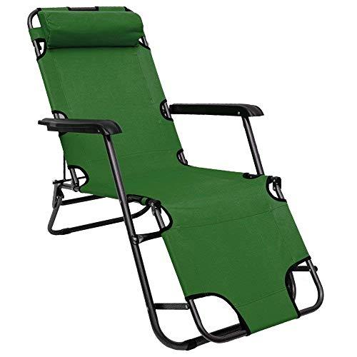 AMANKA Folding Sun Lounger Foldable Deck Chair Reclining Garden Chair 153 cm + leg rest reclining back + headrest Green