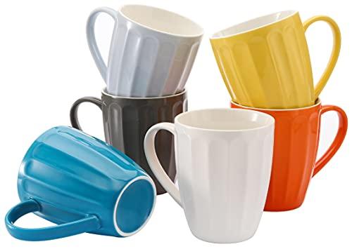 Yesland 13.5 Oz Porcelain Fluted Mugs - Set of 6 - Multicolor Coffee Mug Set and Hot Tea Coffee Cup with Handle for Coffee, Tea & Cocoa