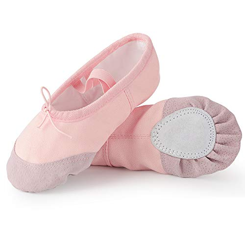 Soudittur Girls Ballet Shoes Pink Canvas Split Sole Dance Slippers Yoga Flats Gymnastic Shoes for Children/Kids/Women/Adults/Boys/Toddler