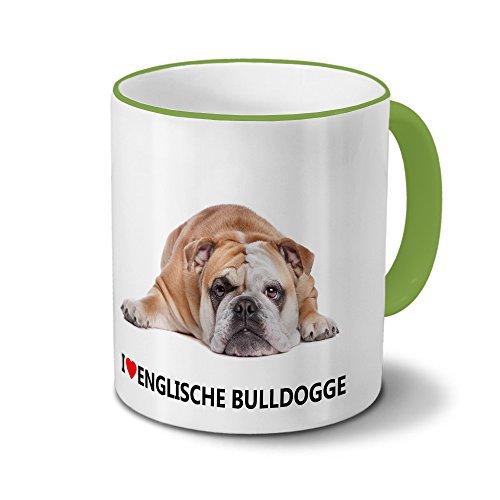 printplanet Hundetasse Englische Bulldogge - Tasse mit Hundebild Englische Bulldogge - Becher Grün