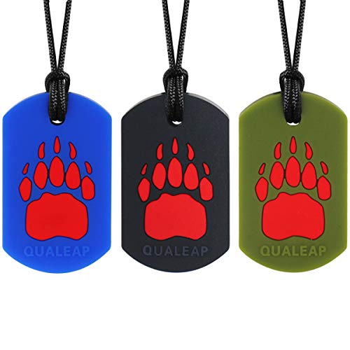 Bear Claw Sensory Chew Necklace for Kids (3 Pack) - Sensory Oral Motor Aids Teether Toys for Autism, ADHD, Baby Nursing or Special Needs- Reduces Chewing Biting Fidgeting for Kids Adult