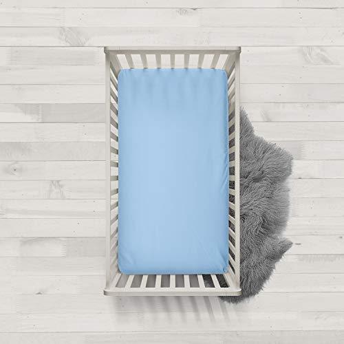 Melunda Baby Spannbettlaken 100% Baumwolle - Blau - 60x120 - Jersey Spannbetttuch für Kinderbett - Oeko-Tex® Standard 100