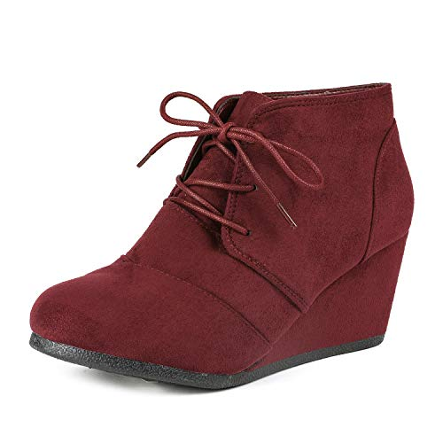DREAM PAIRS TOMSON Women's Casual Fashion Outdoor Lace Up Low Wedge Heel Booties Shoes BURGUNDY 7.5 B(M) US