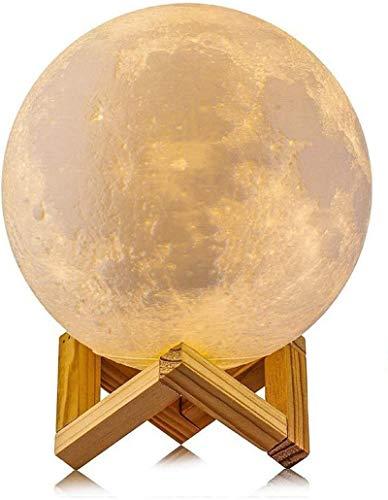 3D Moon Lamp LED Nachtlicht mit Touch-Schalter, Schreibtischlampe 2 Farben mit USB-Ladekabel & Holz Halter (20cm)