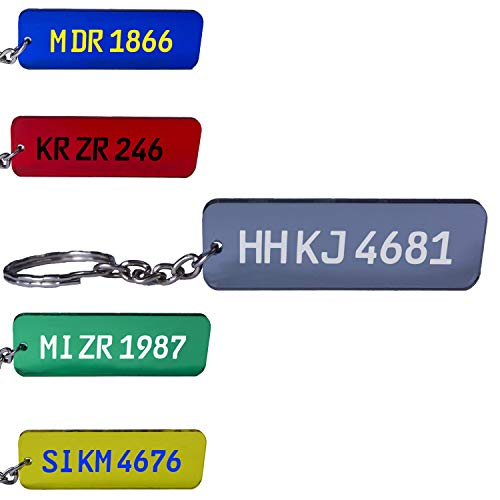 KFZ Kennzeichen Schlüsselanhänger Nummernschild Autoschild personalisiert individuell farbig Gravur