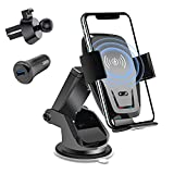 BLUECEDAR Wireless Car Charger, Qi Auto-Clamping Air Vent Dashboard Car Phone Holder & QC3.0 Car Charger, 10W Compatible for Galaxy S10/S10+/S9,Charging for iPhone 11/11 Pro/11 Pro Max