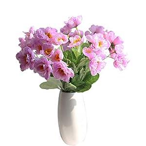 "cn-Knight Artificial Poppy Flower 12pcs 21"" Long Stem Silk Papaver with 2 Blossoms for Veteran Day Home Decor Centerpiece Housewarming Wedding DIY Bridal Bouquet(Light Purple)"