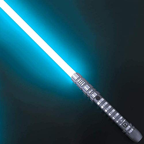 Hengqiyuan Star Wars Sable luz, Mango Metal Desmontable con Carga USB Experiencia Real Duelo Sable luz niños Adultos Sable de luz Juguete Regalo,Ice Blue