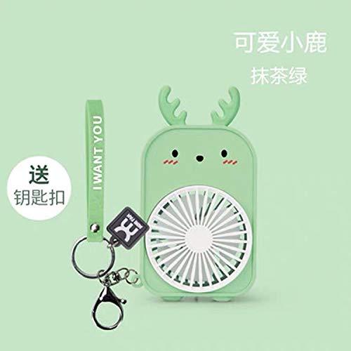 WANGSHI Lindo Dinosaurio USB Ventilador Recargable Lindo Portátil Niños Estudiantes Portátil Pequeño Ventilador Portátil Mini Cervatillo Verde