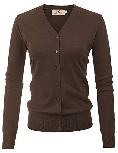 GRACE KARIN Women Open Front Cardigan Sweater Button Down Knit Sweater Coat(L,Coffee)