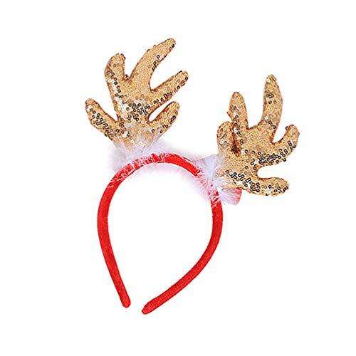 Holibanna Glitzer Weihnachten Rentiergeweih Stirnband mit Rentierohren Rentiergeweih Kostüm (Golden)