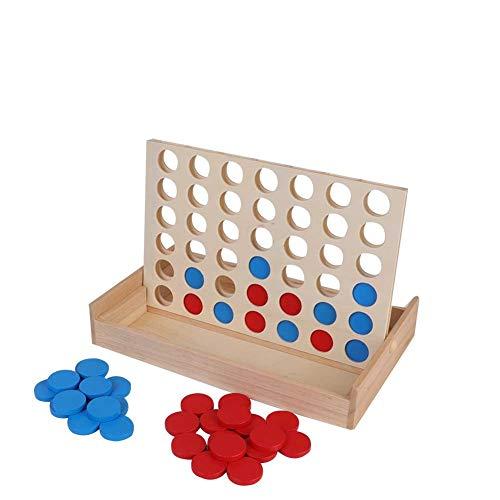 Preisvergleich Produktbild Alomejor 4 in Einer Reihe Kind Spiel Kinder Pädagogisches Brettspiel Spielzeug Holzspiel für ganze Familie