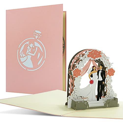 L21 - Tarjeta de felicitación 3D para boda, elegante, elegante, elegante, para bodas, ideas de regalo, regalos de boda para novios