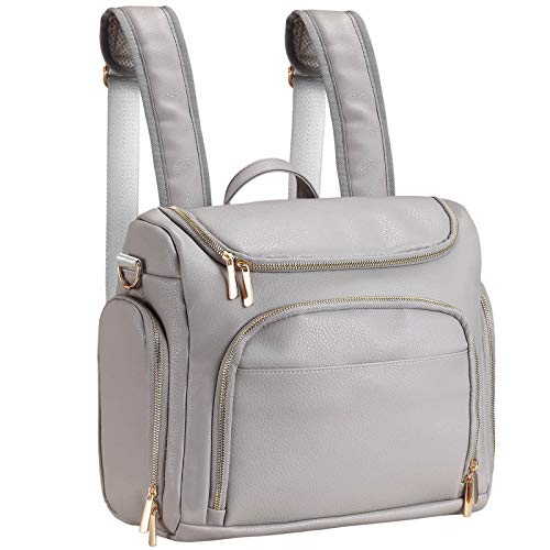 Diaper Bag Backpack, 7-in-1 Beaulyn Leather Travel Back Pack Large Capacity Organizer (Grey)