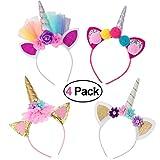 Ruiuzi 4 PCS Cerchietto con Corno di Unicorno Corno di Unicorno Glitter Gold Cat Ears Fiori Unicorno Fascia per Bambini Ragazze Headwear Accessorio per la Decorazione del Partito (4pack)