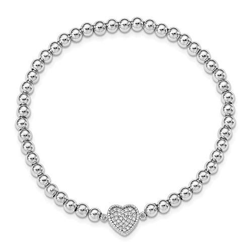 925 Sterling Silver Beaded Cubic Zirconia Cz Heart Stretch Bracelet 7 Inch Adjustable Wrap Love Fine Jewelry For Women Gifts For Her