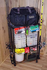Old Cedar Outfitters Adjustable 3-Shelf Rolling Tackle Trolley for Fishing Tackle Storage, Holds up to 12 Fishing Rods, WFR-012