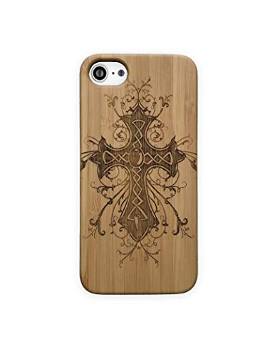 Bamboo Case for iPhone 6 or iPhone 6S | Natural Wood Protective Cover with Celtic Cross Design