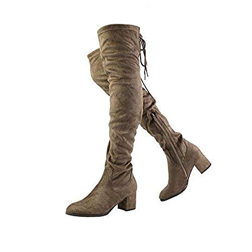 DREAM PAIRS Women's Laurence Khaki Over The Knee Thigh High Chunky Heel Boots Size 8.5 M US