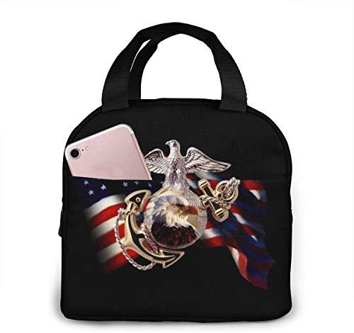 US Marine Corps - Bolsa de almuerzo rectangular para mujeres,niñas,niños,bolsa de picnic aislada,bolsa gourmet,bolsa cálida,para trabajo escolar,oficina,camping,viajes,pesca