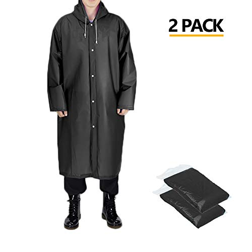 Opret Portable Adult Rain Poncho, Reusable Raincoat with Hoods and Sleeves, Perfect for Outdoor Activities, Size 45.2