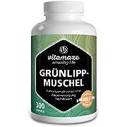 Grünlippmuschel Kapseln hochdosiert: 1500 mg Grünlippmuschel Pulver aus Neuseeland pro Tagesdosis, 300 Kapseln Dauerversorgung, Natürliche Nahrungsergänzung ohne Zusätze
