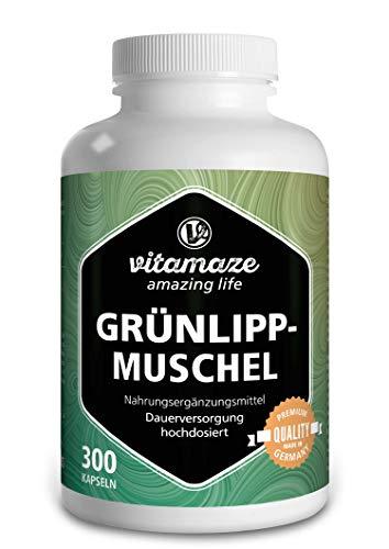 Vitamaze® Grünlippmuschel Kapseln hochdosiert: 1500 mg Grünlippmuschel Pulver aus Neuseeland pro Tagesdosis, 300 Kapseln Dauerversorgung, Natürliche Nahrungsergänzung ohne Zusätze
