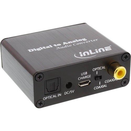 InLine 65002K Audio-Konverter Digital zu Analog, DA-Wandler, Toslink & Cinch Eingang zu Cinch Stereo Ausgang, USB Power