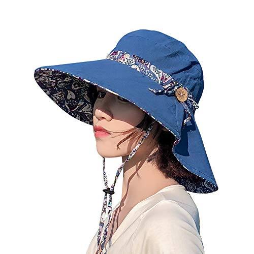 TAGVO Sonnenhut Damen Ablösbar Bowknot Strand Hut Breite Krempe Sommer Hut Faltbarer UV Schutz Sommerhut mit Kinnriemen