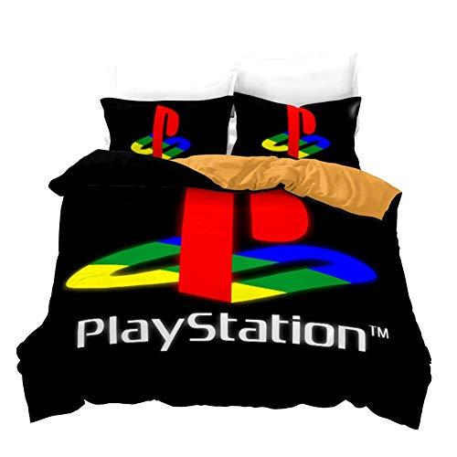 UNILIFE 3 teilig Bettwäsche-Set Playstation 4-Bettbezug mit Kissenbezug Bedruckter Bettwäsche Bettbezug Set aus Polycotton mit Reißverschluss