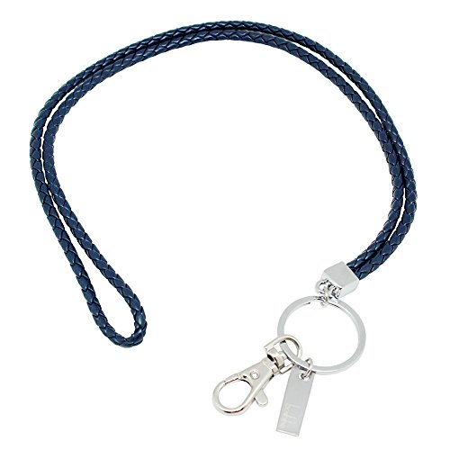 Office Lanyard, Boshiho PU Leather Necklace Lanyard with Strong Clip and Keychain for Keys, ID Badge Holder, USB or Cell Phone (Blue)